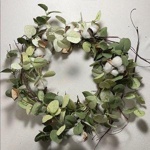 Two Faux Eucalyptus w/Cotton Wreaths Mini Lights